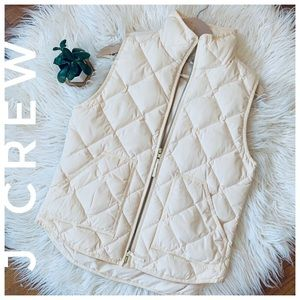 J CREW quilted vest cream white
